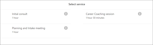 Select the type of service