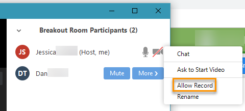 Allow Record in the Breakout Room Participants panel.